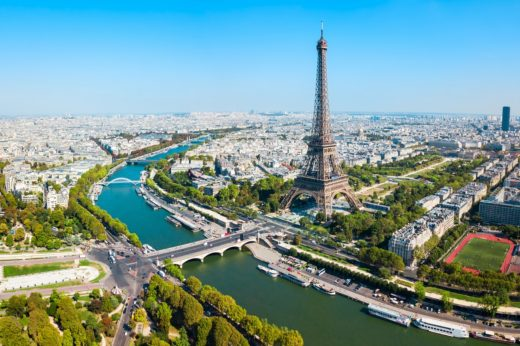 Eiffel Tower or Tour Eiffel aerial view, is a wrought iron lattice tower on the Champ de Mars in Paris, France